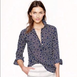 J. Crew Popover navy flower bud cotton blouse